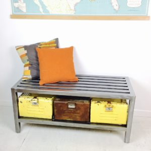 vintage industrial bench with gym locker baskets