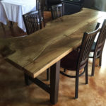 walnut slab dining table