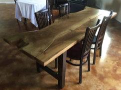 walnut slab dining table