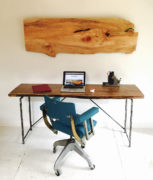 forged steel and walnut desk