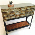 vintage card catalog console table