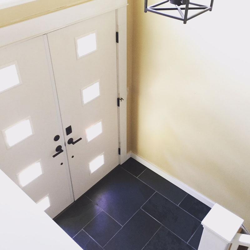 slate tile entry double doors